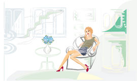 Her future flat. Girl is planning her future flat Royalty Free Stock Photo