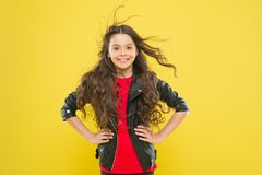 Her hair radiates health. Wind can also damage hair. Strong persistent winds can create tangles and snags in wavy long stock image
