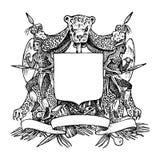 Her?ldica medieval del vintage Prosperar la decoraci?n para los escudos de armas de un reino de la fantas?a Mano del bosquejo del libre illustration