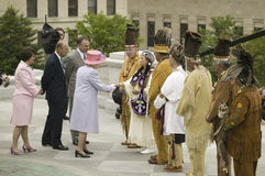 Her Majesty Queen Elizabeth II. Queen of England, the Duke of Edinburgh, Prince Philip, Governor Timothy M. Kaine and his wife Anne Holton meeting Native Stock Image