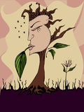Her Nature. Woman's face on a tree - symbols of feminine power and women's issues Stock Illustration
