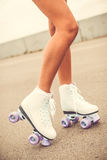 Her new roller skates. Royalty Free Stock Photo