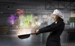 Her recipe of success . Mixed media Stock Photos