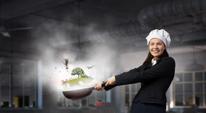 Her recipe of success . Mixed media Stock Images
