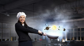 Her recipe of success . Mixed media Royalty Free Stock Photos