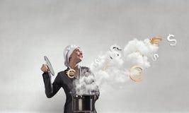 Her recipe of success . Mixed media Royalty Free Stock Photo