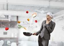Her recipe of success . Mixed media Royalty Free Stock Images