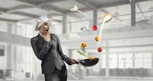 Her recipe of success . Mixed media Royalty Free Stock Photos