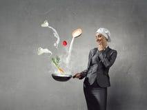Her recipe of success . Mixed media Stock Image