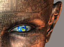 In her sight. Earth in eye of cyborg Stock Images