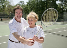 Her Tennis Lesson Stock Photos