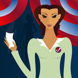 Her Vote Counts. Woman holding up a voting ballot... people in line for the polls in the background Vector Illustration