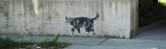 On her way. Graffiti in Innsbruck park - walking cat Stock Photography