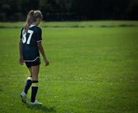 In her zone. Soccer field Royalty Free Stock Photos