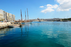 The Hera cruises yachts and view on Valletta. SLIEMA, MALTA - APRIL 22: The Hera cruises yachts and view on Valletta on April 22, 2015 in Sliema, Malta. More Royalty Free Stock Photo