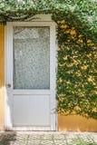 Hera e porta branca com parede amarela Foto de Stock Royalty Free