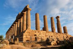 Hera (Juno)  temple in Agrigento, Sicily, Italy. On sunset Stock Photography