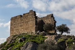 Heraclea废墟在湖Bafa附近的在Mugla土耳其 库存图片