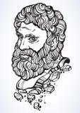 heracles El héroe mitológico de Grecia antigua Ilustraciones hermosas a mano del vector aisladas Mitos y leyendas Arte del tatuaj libre illustration