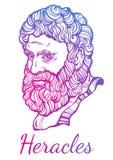 heracles El héroe mitológico de Grecia antigua Ilustraciones hermosas a mano del vector Mitos y leyendas Arte del tatuaje ilustración del vector