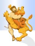 Heracles y león ilustración del vector