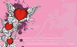 Heradic griffin three red heart background Royalty Free Stock Images