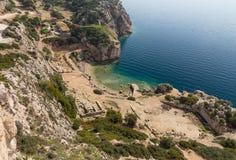 The Sanctuary of goddess Hera at Perachora, Corinthia, Greece. The Heraion of Perachora was a sanctuary of the goddess Hera situated in a small cove of the Royalty Free Stock Photos