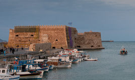 Heraklion Castle  and harbor in Crete, Greece Stock Images