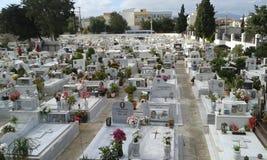 Heraklion cemetery. Crete. Greece. White gravestones Stock Photo