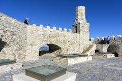 Heraklion Crete, Grecja,/ Dachu widok forteczny Koules z starą latarnią morską Obraz Royalty Free