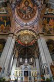 Heraklion, Crete / Greece: The Agios Minas Cathedral is a Greek Orthodox Cathedral in Heraklion. Interior view with the dome and the beautiful hagiographies Stock Photos