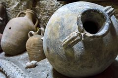 Heraklion, Crete / Greece. Amphora that was found in a shipwreck in the sea area of Heraklion. Now is located inside the fortress. Koules in Heraklion Royalty Free Stock Images