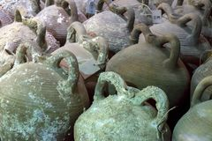 Heraklion, Crete / Greece. Amphorae from the Byzantine Shipwreck that were found in the sea area of Heraklion. Fortress Koules. Heraklion, Crete / Greece Royalty Free Stock Photos