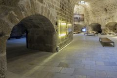 Heraklion, Crete / Greece . Interior view of the fortress `Koules`. Venetian cannons and cannonballs Stock Images
