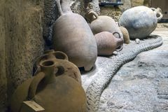 Heraklion, Crete / Greece - October 26, 2017: Amphorae that were found in shipwrecks in the marine area of Heraklion. And are now inside the fortress `Koules Stock Images