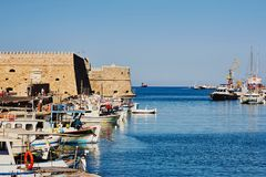 Heraklion, Crete, Greece, September 5, 2017: View of the old Venetian harbour and fortress Koules. Heraklion, Crete, Greece, September 5, 2017: View of the old Stock Photo
