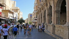 Heraklion, Crete Island, Greece - July 23, 2016: The streets of the old town stock video footage