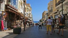 Heraklion, Crete Island, Greece - July 23, 2016: The streets of the old town stock video