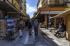 The traditional central market in Heraklion city stock photos