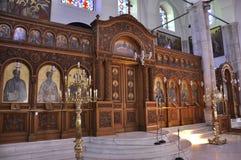 Heraklion, el 5 de septiembre: Iglesia del interior de Titus del santo de Heraklion en la isla de Creta de Grecia imagen de archivo libre de regalías