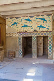 HERAKLION, GREECE - AUGUST 3, 2012: The famous fresco of Dolphin Royalty Free Stock Photo