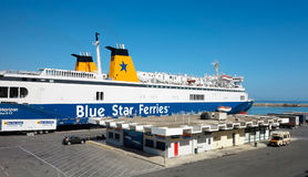 18.06.2015; Heraklion, Greece - Big blue ship ready to leave sea Royalty Free Stock Photos