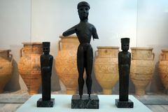 The Apollonian Triad. HERAKLION, GREECE - CIRCA MAY 2018 The Apollonian Triad in Acrhaeological museum Stock Image