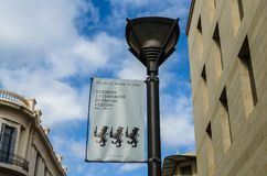 HERAKLION, GREECE - November, 2017:  Lantern with the advertisement of the historical museum of Crete, against the blue sky at the. HERAKLION, GREECE - November Stock Photography