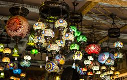 HERAKLION, GREECE - November, 2017: Bright, colorful lamps in the greek national style, Heraklion, Crete. HERAKLION, GREECE - November, 2017: Bright, colorful Stock Photos