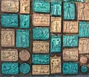 Heraklion, Greece - November, 2017: Clay tablets – souvenirs,  depicting mythical plots Stock Photo