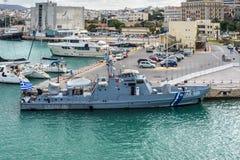 Hellenic coast guard ship Heraklion, Greece. Heraklion, Greece - November 2, 2017: Hellenic coast guard ship, docked at the port of Heraklion, Crete island Royalty Free Stock Image