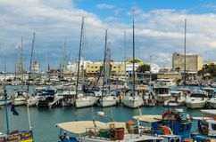 HERAKLION, GREECE - November, 2017: The yachts and motor boats are near pier, Crete, Greece Royalty Free Stock Photo