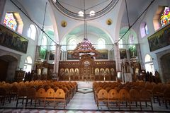 Heraklion, Greece, 25 September 2018, Interior view of the Church of Agios Titos which is a beautiful Orthodox church royalty free stock images