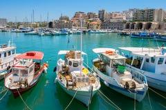 Heraklion hamn crete greece Arkivbild
